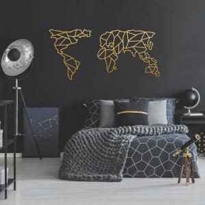 Kovová nástenná dekorácia v zlatej farbe Geometric World Map, 120 × 58 cm