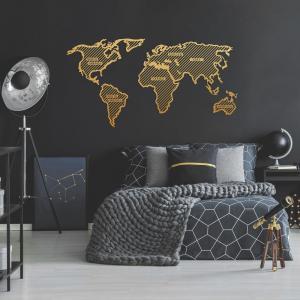 Kovová nástenná dekorácia v zlatej farbe World Map In The Stripes, 150 × 80 cm