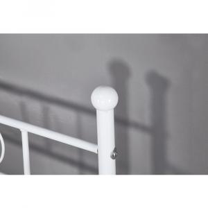 Kovová pohovka - jednolôžko, biela, 90x200, ROZALI
