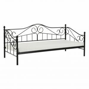 Kovová posteľ, čierna, 90x200, DAINA