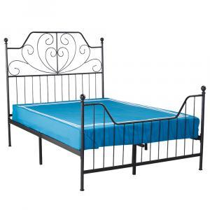 Tempo Kondela Kovová posteľ s roštom, čierna, 140x200, RAJANA