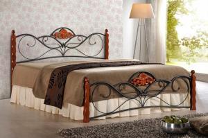 Kovová postel Valentina 160x200 dvoulůžko antická třešeň/černá