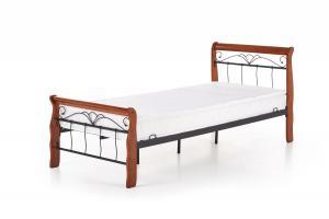 Kovová postel Veronica 90x200 jednolůžko antická třešeň/černá
