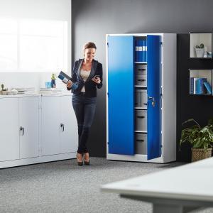 Kovová skriňa Style, 4 police, 1900x1000x400 mm, modrá/biela
