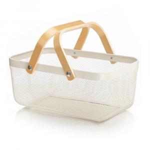 Kovový košík s rúčkami, biela, KITEN TYP 5