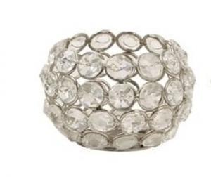 Kovový svietnik vyplnený sklíčkami Crystal - Ø 6 * 6 cm