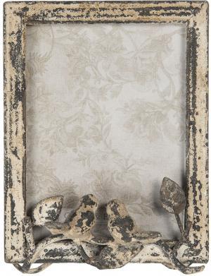 Kovový vintage fotorámček s patinou s dekoráciou vtáčikov - 16 * 7 * 22 cm / 15 * 20 cm