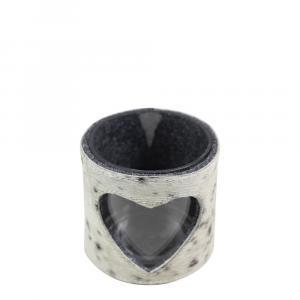 Kožený svietnik s ozdobou srdca čierna / biela - Ø 11,5 * 10,5 cm