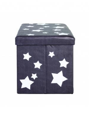Krabica s úložným priestorom Stars, 40 cm, biela/sivá
