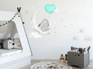 DomTextilu Krásna detská nálepka na stenu pre chlapčeka zaľúbený zajačik 60 x 120 cm 46201-216726