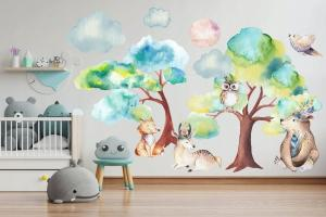 Krásna farebná nálepka na stenu pre deti v jemný tónoch