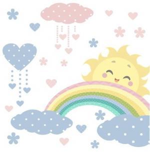Krásna nálepka na stenu v pastelových farbách slniečko dúha a mraky