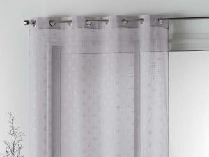 Krásna sivá záclona na kruhy s lesklou aplikáciou 140 x 240 cm