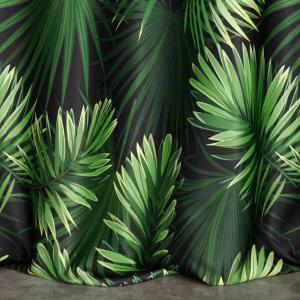 Krásny zelený zatemňujúci záves s motívom listov