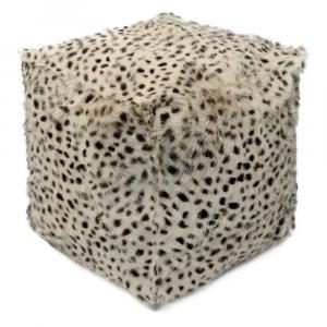 Krémový chlpatý puf s imitáciou rysie kože - 45 * 45 * 45cm