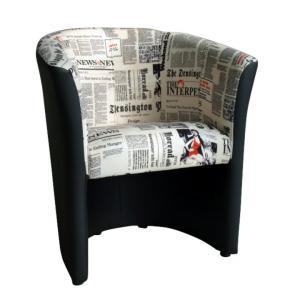 Kreslo - Tempo Kondela - Cuba vzor noviny + čierna. Sme autorizovaný predajca Tempo-Kondela.