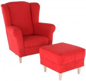 Kreslo ušiak s taburetom, látka červená, ASTRID
