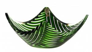 Krištáľová misa Linum, farba zelená, priemer 280 mm