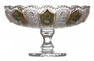 Krištáľová misa na nohe 500K Zlato, farba číry krištáľ, priemer 180 mm