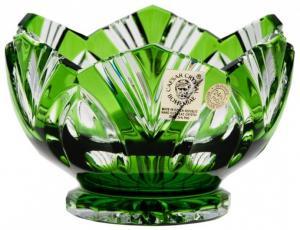 Krištáľová miska Lotos, farba zelená, priemer 104 mm