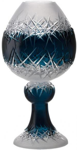 Krištáľová váza Hoarfrost, farba azúrová, výška 560 mm