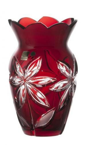 Krištáľová váza Linda, farba rubínová, výška 205 mm