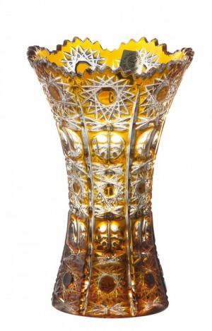 Krištáľová váza Petra, farba jantárová, výška 155 mm