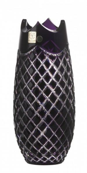 Krištáľová váza Quadrus, farba fialová, výška 230 mm