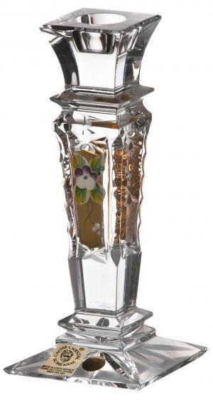 Krištáľový svietnik 500K Zlato, farba číry krištáľ, výška 150 mm