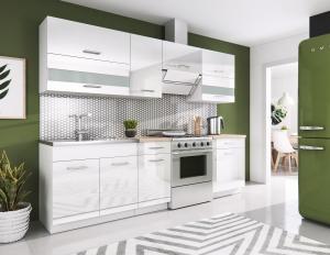 Kuchyňa Rio 240 cm (biela + lesk biely)
