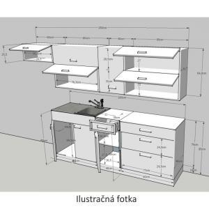 Kuchynská linka, biela/wenge, JURA NEW B ZS