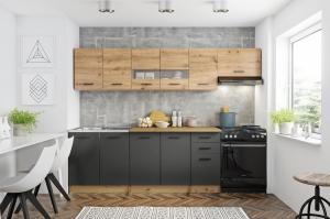 Kuchyňská linka Penny 260 cm dub artisan/tmavě šedá
