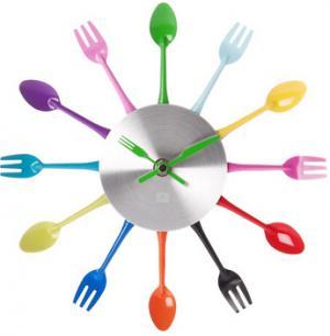 Kuchynské nástenné hodiny Silverware Cutlery mini 25cm