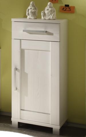 Kúpeľňová  bočná skrinka Poseidon, bielený smrekovec