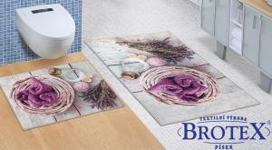 Kúpeľňová sada predložiek 3D 60x100 + 60x50cm bez výkroja levandula