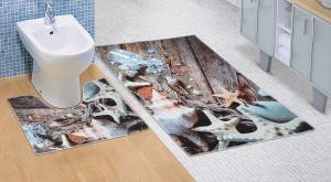 Kúpeľňová sada predložiek 3D Morské lastury 60x100+60x50cm