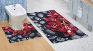 Kúpeľňová sada predložiek 3D Orchidea 60x100+60x50cm