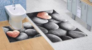 Kúpeľňová sada predložiek 3D tmavé kamene 60x100+60x50cm