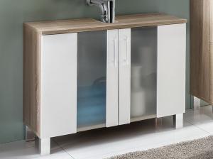 Kúpeľňová skrinka pod umývadlo Porto, dub sonoma/biela