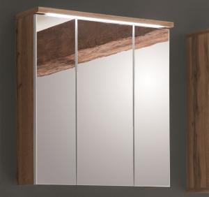 Kúpeľňová skrinka so zrdkadlom Spalt, divoký dub wotan, LED osvetlenie