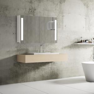 Kúpeľňová skrinka VENEDIG, 100 cm, biela, s LED svetlom