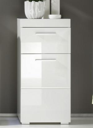 Kúpeľňová stojacia skrinka Amanda 802, lesklá biela