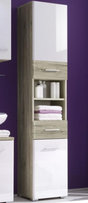 Kúpeľňová vysoká skrinka Barolo, dub san remo/lesklá biela