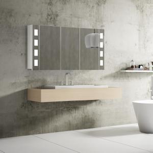 Kúpeľňové zrkadlo FLORENZ, 120 cm, biele, LED osvetlenie