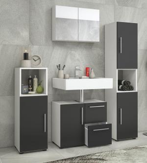 Kúpeľňový set Flandu So Zrkadlová skrinkou, Čiernobiela