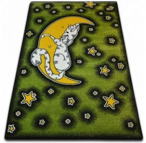 Kusový koberec KIDS mačka zelený C414