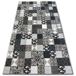 Kusový koberec LISBOA 27218/985 čtverce hnědý portugal
