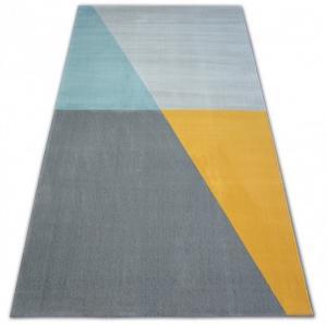 Kusový koberec SCANDI 18487/572 - trapéz šedý / zlatý / tyrkysový