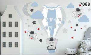Kvalitná nálepka na stenu do detskej izby lietajúci sloníci