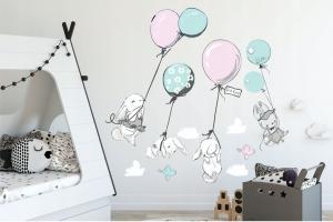 Kvalitná veľká nálepka na stenu zajičikovania a balóny 150 x 300 cm